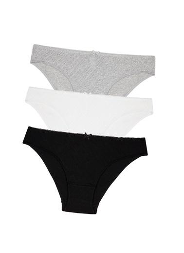 Penti Siyah Beyaz Gri Soft Pointel Basic 3Lü Siyah